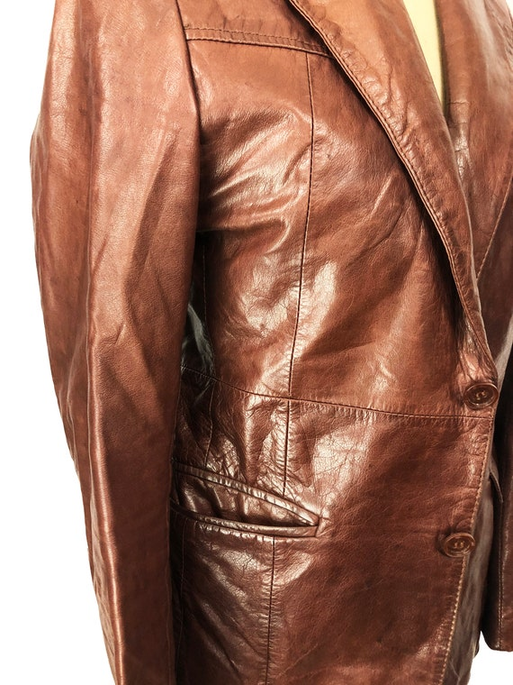 Vintage 70's J. Walden Brown Leather Blazer - image 6