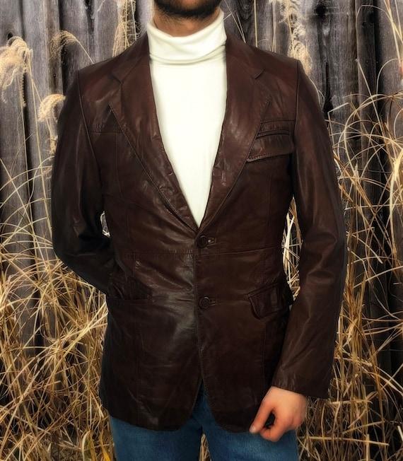 Vintage 70's J. Walden Brown Leather Blazer - image 1