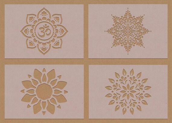 Snowflake 2 Flower Stencil A6 A5 A4 A3 crafting DIY Hippy