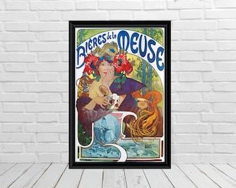 Benedictine Set of 2 Alphonse Mucha Art Nouveau Poster Champagne Vintage Food/&Drink Prints Decorative Artwork Beverages Wall Decor
