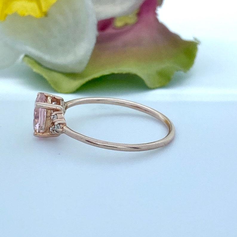 Solid Gold Metal 10k14k Natural Morganite and Diamonds 9k14k Solid Gold Engagement Ring for Women Morganite in RoseYellowWhite