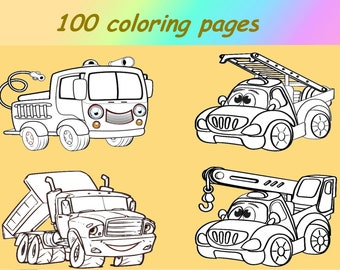 Cars Coloring Book Etsy