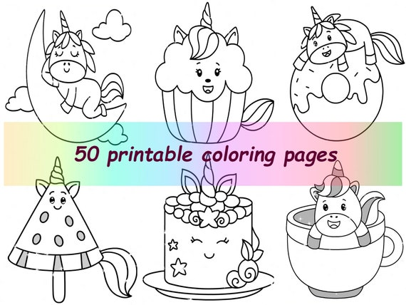 Coloring Pages For Kids PDF Cute Unicorn Cake Printable Etsy