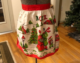 Apron Vintage Aprons Half Apron Christmas Candy Canes Green