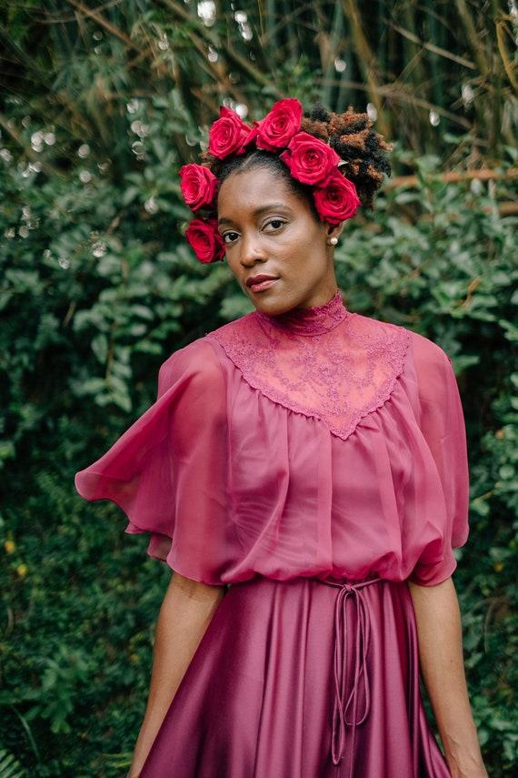 Vintage 1970s Victorian Red Burgundy High Collar … - image 2