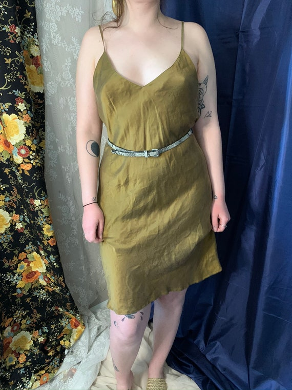 Gold 100% matte silk slip dress