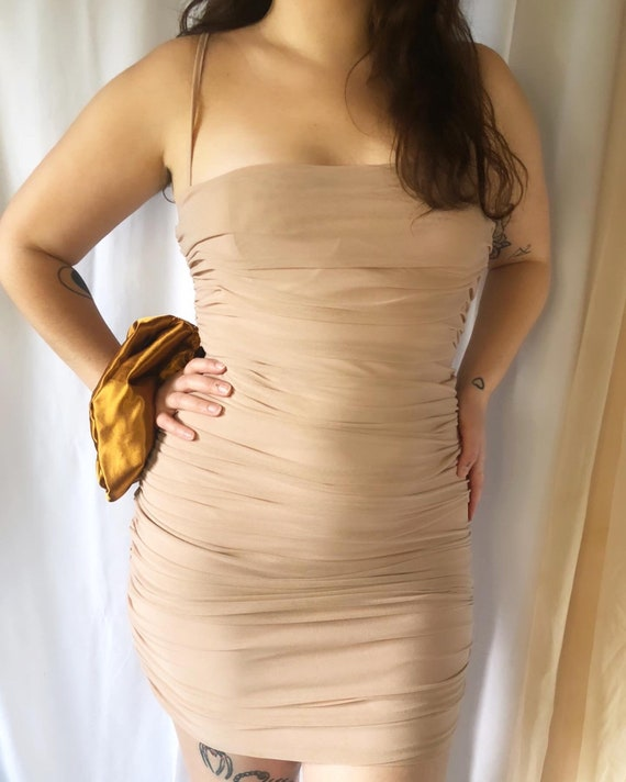 Nude Mesh Mini Dress