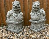 Reconstituted stone pair of foo dog statues oriental lion garden ornament Outdoor Concrete