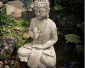 Reconstituted stone meditating buddha statue vintage concrete garden ornament