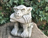 Reconstituted stone sitting gremlin statue vintage concrete garden ornament Outdoor Concrete