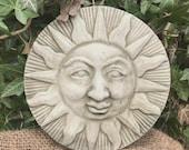 Reconstituted stone sun plaque statue vintage style concrete garden ornament Outdoor