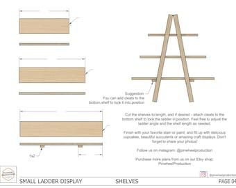 DIY Wood Small Ladder Display Stand Build Plans - Wedding Cupcakes, Craft Fair Display - PDF Plans