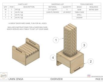 DIY Lawn Jenga Build Plans - PDF Plans - Yard Jenga
