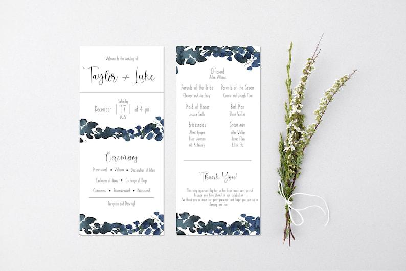 Simple Watercolor Wedding Program Printable Template Download DIY Editable Templett The Taylor Program