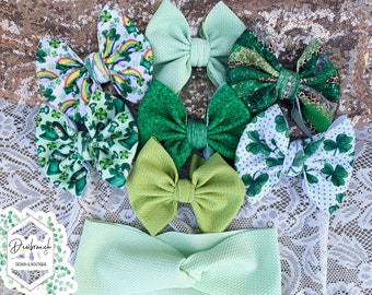 pink bow buy 2 get 1 free Easter hairbow spring hairbow baby headband pack green floral bow Pinwheel Bow 3 pack baby shower gift idea