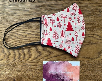 Christmas designs. Hand made triple layer facemasks with 3mm braided elastics. Small, medium, large sizes  + Silicon adjusters
