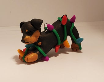 ROTTWEILER Christmas Ornament with a Dish of Dog Bones Can Be PERSONALIZED Hand Made Polymer Clay ooak Rottie