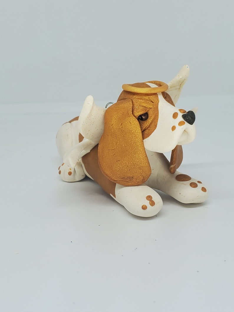 Basset Hound Christmas Ornament White and Tan BASSET Angel Hand Made Polymer Clay PET MEMORIAL