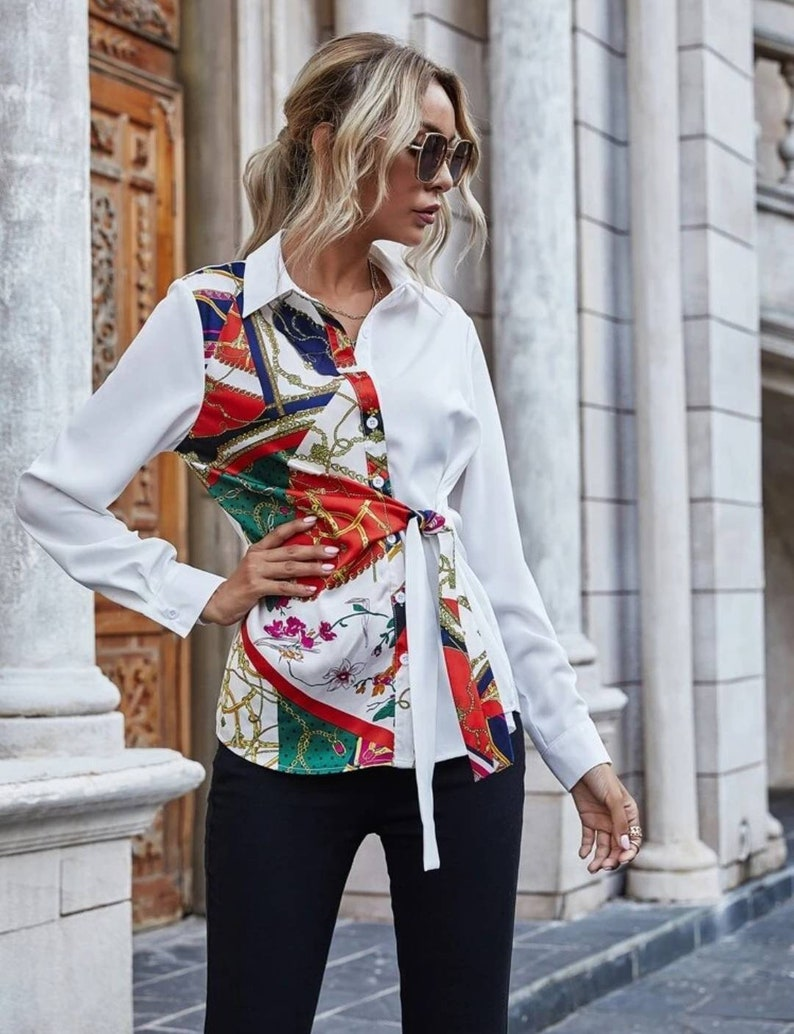 Classic Fall Print Blouse Shirt Chic Autumn Long Sleeves Modest Clothing Flowy Trendy Wide Eid Special Occasions Elegant Style Tie Satin