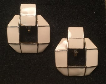 Retro Modern Cubist Large Square Pierced Earrings