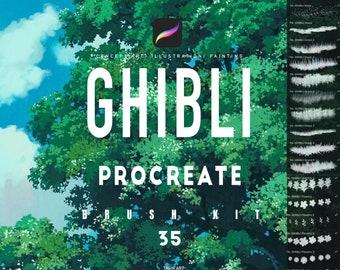 Ghibli 35 Procreate brush set / nature brush kit/ landscape brushes/ background brushes/ foliage