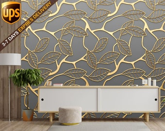 Golden leaves Flat Removable wallpaper | Peel and Stick Wall Mural for Bedroom or Living room | wow effect poster