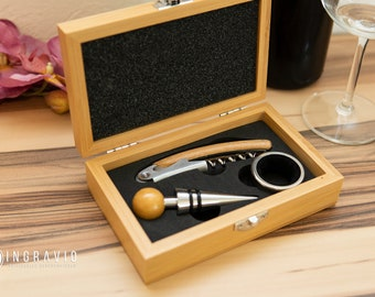 Wine set with engraving, wooden box, waiter's knife, wedding gift, wine lover, red wine, drip ring, bottle cap, wooden box, anniversary