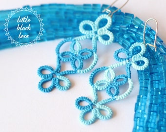 Unique blue handmade earrings