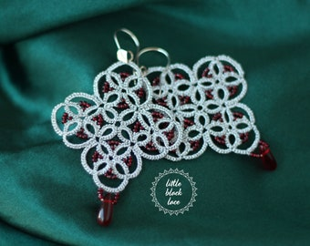 Elegant lace earrings with red beads