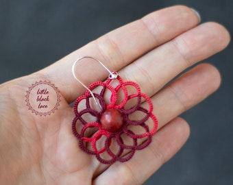Unique red swirl earrings