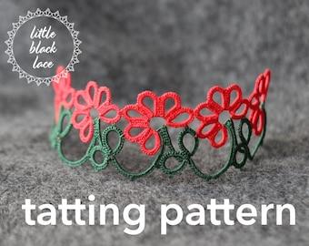 Gerbera edging - shuttle tatting pattern in PDF by littleblacklace, suitable for bracelet or choker - instant download