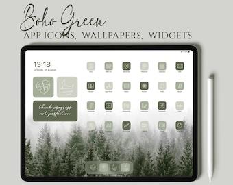 Boho Green iPad Desktop Icons, Green iPad App Icons, Boho iOS 14 Icon Pack, Boho Green iPad Desktop Icons, iPad Wallpapers and Widgets