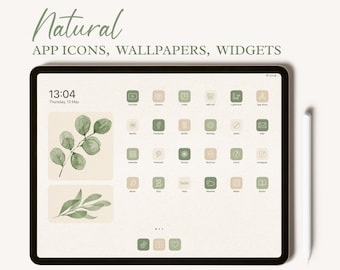 Natural iPad App Icons, iPad Wallpaper, Aesthetic iPad Icons, Boho iPad Widgets, iPad Icons And Wallpaper, iPad Desktop Icons, Neutral Icons