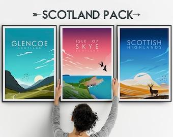 Scotland Prints, Glencoe Scotland Print, Isle of Skye Print, Scottish Highlands Print, Set of 3
