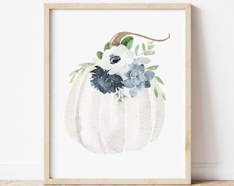Autumn Artwork Blue Floral Pumpkin Art Print Watercolor Fall Art