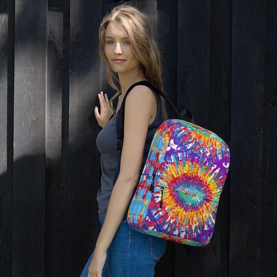 tie dye backpack, backpack women, waterproof backpack, travel backpack, beach bag, small backpack, hipster backpack, weekender bag, tye dye