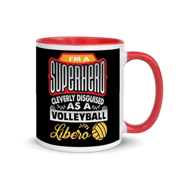 I'm a SUPERHERO Cleverly Disguised as a Volleyball LIBERO Mug, Volleyball Mug, unique volleyball gift, volleyball player gift, volley ball
