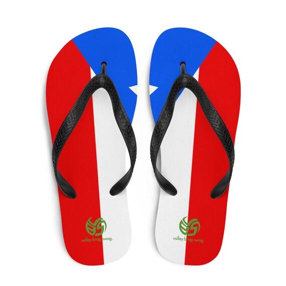 Puerto Rico Flip Flops, Red Flip Flops, Puerto Rico Sandals Flip Flops, Puerto Rico Sandals, Puerto Rico Thongs, Puerto Rico Volleyball