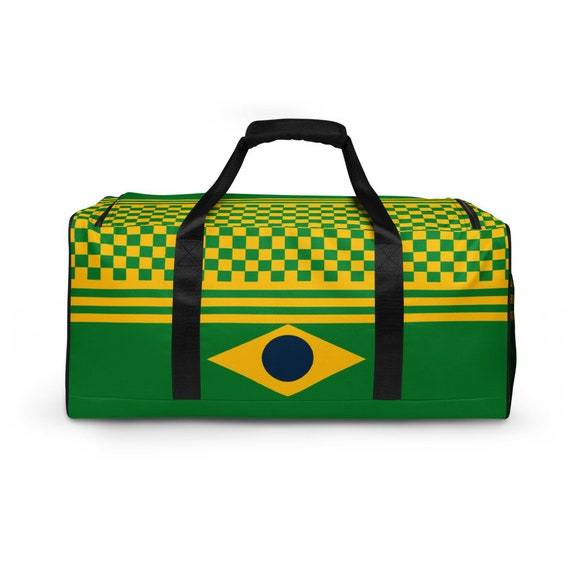 Brazil flag, duffel bag with shoe compartment under, duffle bag for teens woman, Green Yellow Weekender Bag, Small Gym Travel, Rucksack Bag