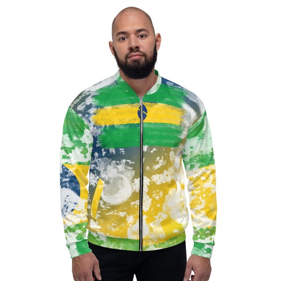 Satin Bomber Jacket Green, Brazil Bomber jacket, green varsity jacket, yellow bomber jacket men,  festival jacket, baseball jacket, puffer