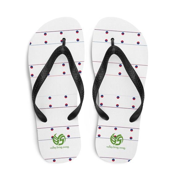 Korea Flag Flip Flops, White Red Flip Flops, Black Sandals Flip Flops, Korea Volleyball, Korea Sandals, Korea Thongs, Korea, Volleyball Gift