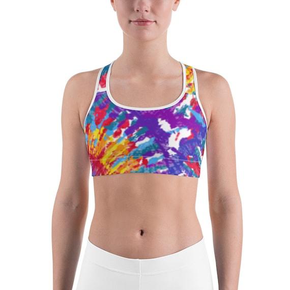 Blue Tye Dye Sports Bra, Tie Dye Sports bra, Purple Sports bra, Sport Bra, Sports Bra Woman, Beach Bra, Volleyball Jog Bra, beachwear,