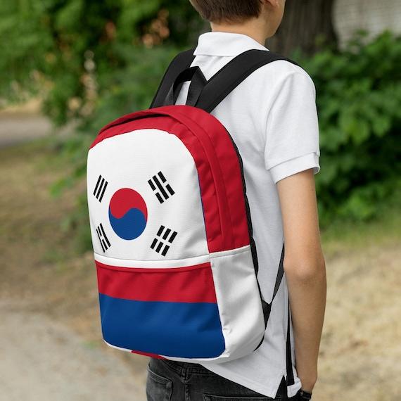 red blue kids backpack, waterproof backpack, rucksack, travel backpack, beach bag, small backpack, hipster backpack, weekender bag, Korea