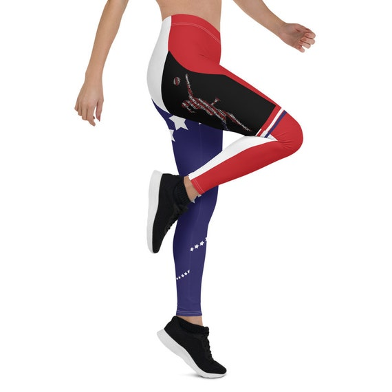 Leggings for Women By Volleybragswag With The American Volleyball Libero Word Art Player Design