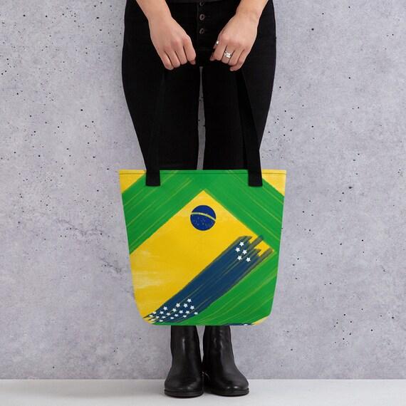 Brazil, Brasil, Sao Paolo, Cute Tote bag, funny tote bag, animal tote bag, teacher tote, book bag, Small Bag For Woman, Green Weekender Bag