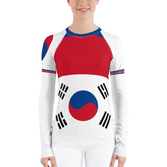 Rash guard, Rashguard, Beach Cover up, Long Sleeve Swimsuit, Modest Swimwear, Swimsuit, Bathing Suit, Korea Flag, activewear, loungewear