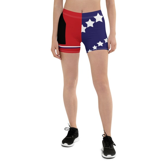 Volleyball Shorts and Volleyball Spandex Inspired By Volleyball Players and Volleyball Liberos in USA Using Red White Blue Stars and Stripes