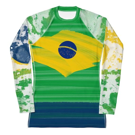Rash guard, Rashguard, Brazil Clothes, Brazil Flag Clothing, Brazil Shirt For Woman, Beach Rashguard, Beach Volleyball Shirt, Beachwear