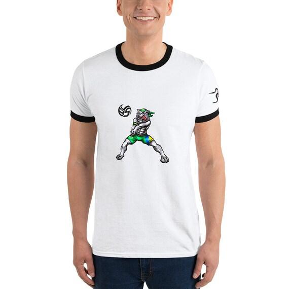 Bulldog Ringer Tee, bulldog hoody, bulldog shirt, volleyball dog shirt, dog and volleyball, animal lover gift, volleyball hoodie, volleyball