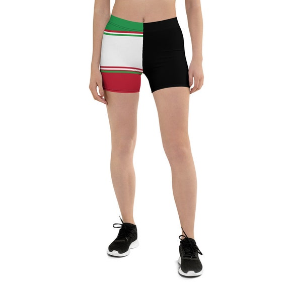 Volleyball Spandex Shorts For Girls and Women Inspired By Italian Volleyball Players and Volleyball Liberos Using Red White Green Stripes